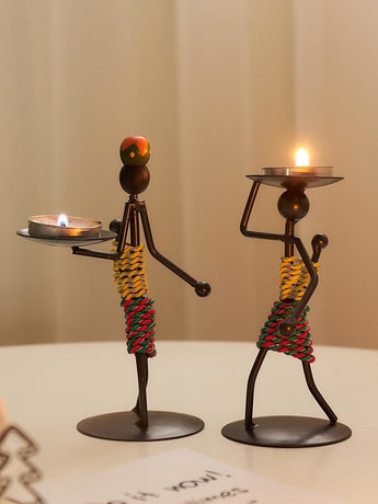 Fun Metal Candle Holder For Table Top Decor - My Aashis