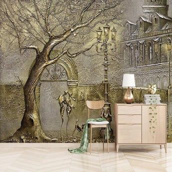 3D Stereo Golden Tree Wallpaper - My Aashis