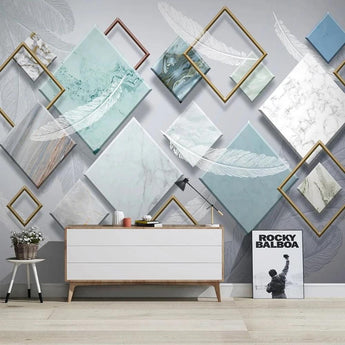 3D Custom Modern Geometric White Feather Mural Wallpaper - My Aashis