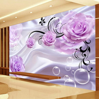 Custom 3D Modern Floral Purple Rose Silk Background - My Aashis
