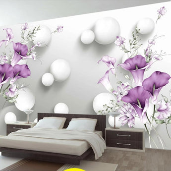 3D Modern Stereo Circle Ball Purple Calla Flowers Custom Photo Wallpaper - My Aashis