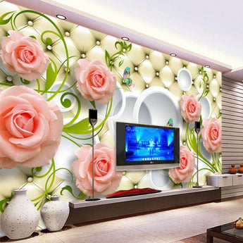 Custom 3D Mural Rose Leather Photo Wallpaper - My Aashis