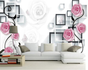 3D Attractive Floral Elegant TV Background Wall Mural