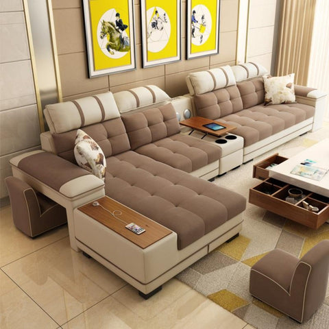 7 Seater Sectional Living Room Combination Corner Sofa - My Aashis