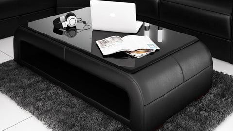 Contemporary Black Leather Coffee Table w/Black Glass Table Top