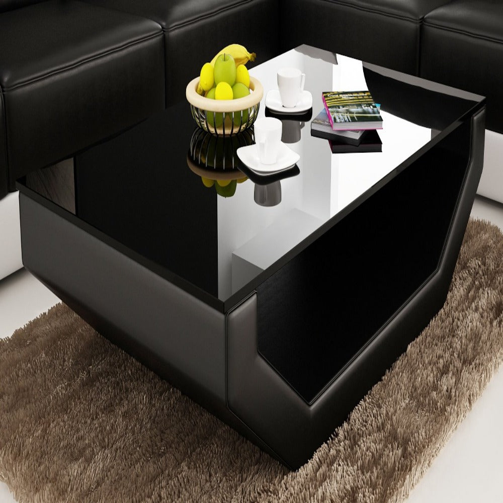 - Contemporary Black Leather Coffee Table W/Black Glass Table Top