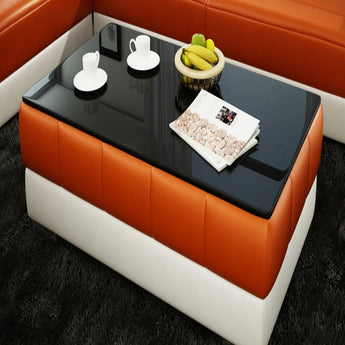Contemporary White/orange Leather Coffee Table w/Black Glass Table Top