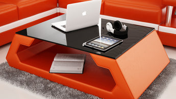 Modernized Orange Leather Coffee Table w/Black Glass Table Top - My Aashis