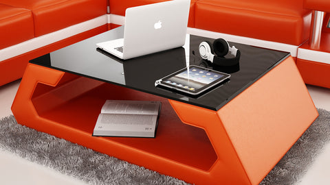 Contemporary Orange Leather Coffee Table w/Black Glass Table Top