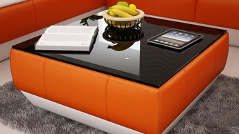 Contemporary Orange and White Leather Coffee Table w/Black Glass Table Top - My Aashis