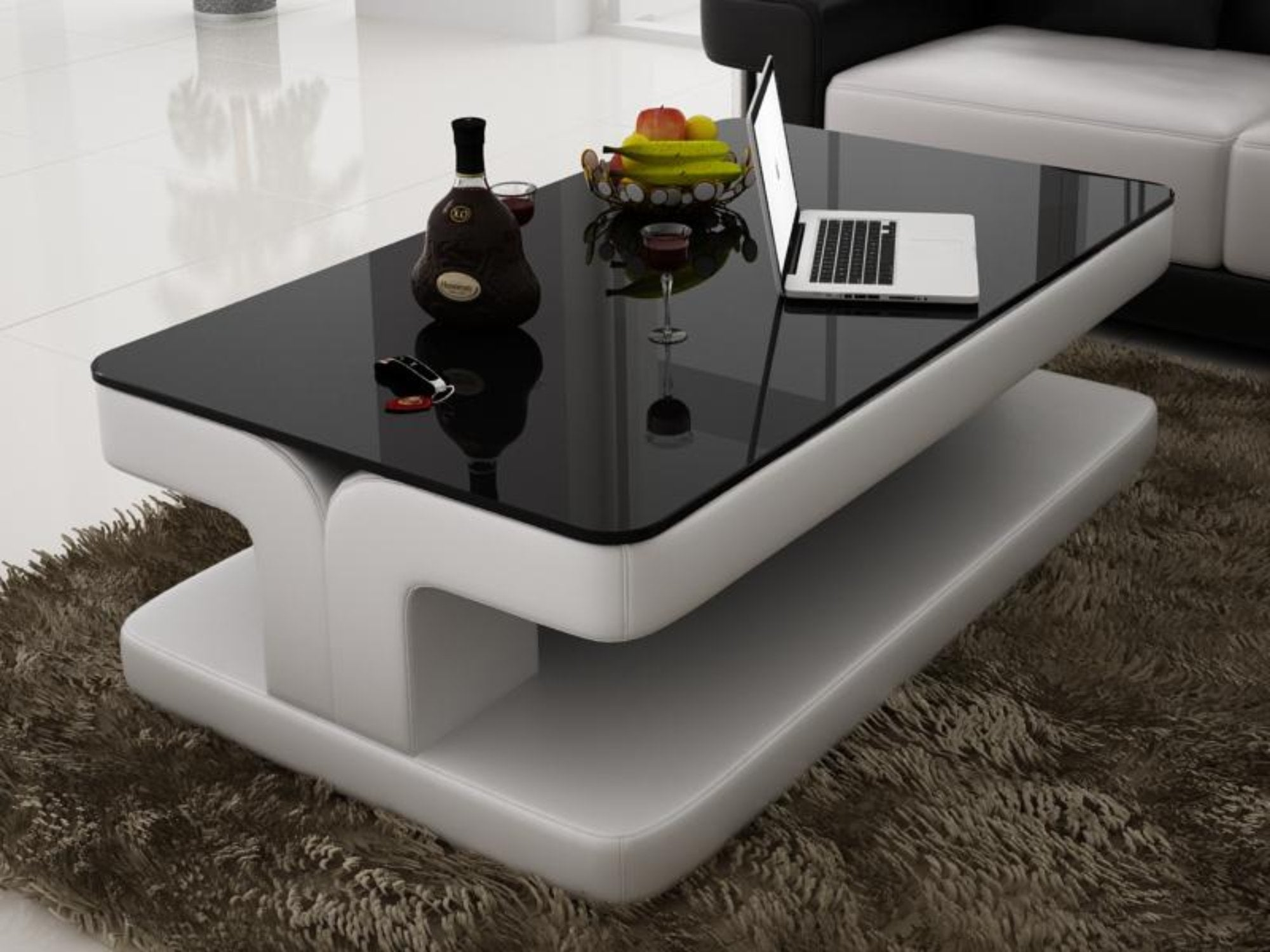 - Contemporary White Leather Coffee Table W/Black Glass Table Top