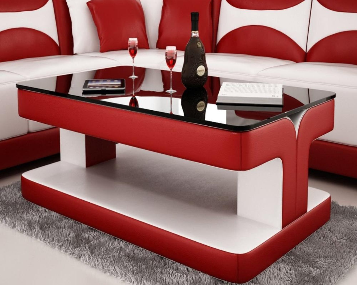 Attirant Contemporary Red Leather Coffee Table W/Black Glass Table Top