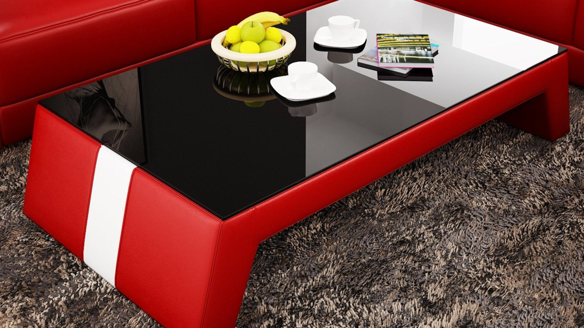 Gentil Contemporary Red Leather Coffee Table W/Black Glass Table Top