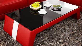 Contemporary Red Leather Coffee Table w/Black Glass Table Top - My Aashis