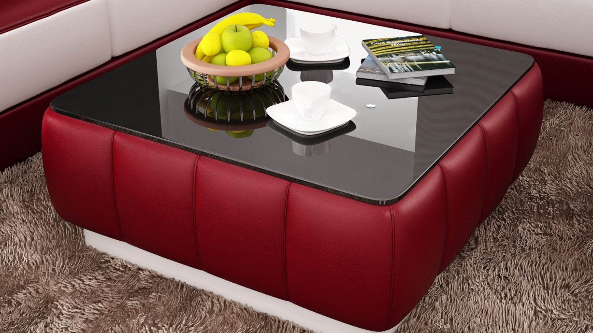 Contemporary Red And White Leather Coffee Table W Black Glass Table Top My Aashis