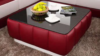 Contemporary Red and White Leather Coffee Table w/Black Glass Table Top