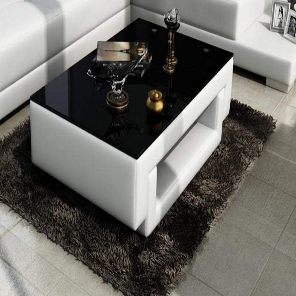 Contemporary White Leather Coffee Table w/Black Glass Table Top – My ...