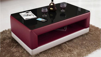 Contemporary Maroon and White Leather Coffee Table w/Black Glass Table Top