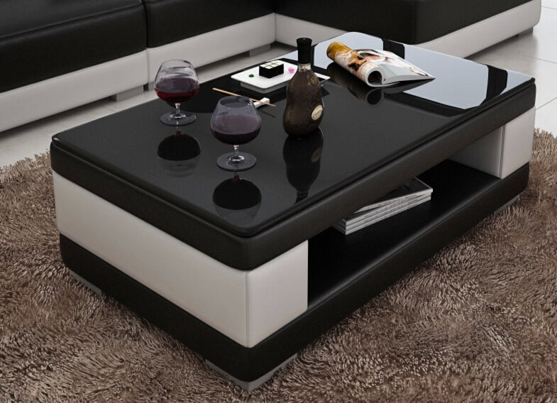 Incroyable Contemporary Black And White Leather Coffee Table W/Black Glass Table Top