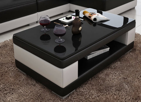 Contemporary Black and White Leather Coffee Table w/Black Glass Table Top - My Aashis