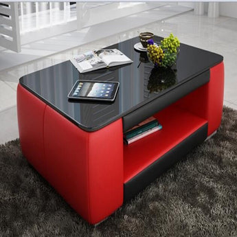 Contemporary Red and Black Leather Coffee Table w/Black Glass - My Aashis