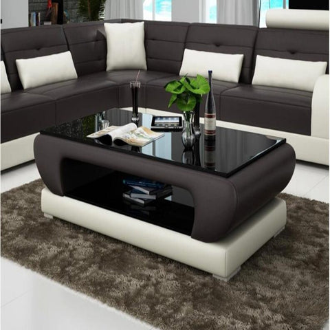 Contemporary Black and White Leather Coffee Table w/Black Glass