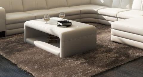 Contemporary  White Leather Coffee Table