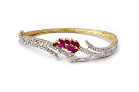 Designer ruby american diamond gold plated bracelet bangle - My Aashis