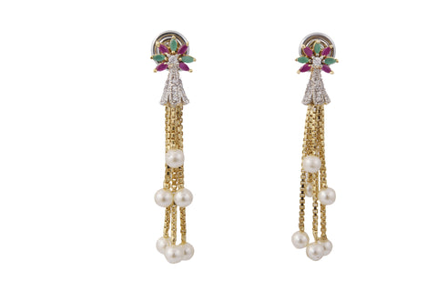 Multi Color Stone and Zircon CZ Traditional Fashion Jewelry Pearls Earrings - My Aashis