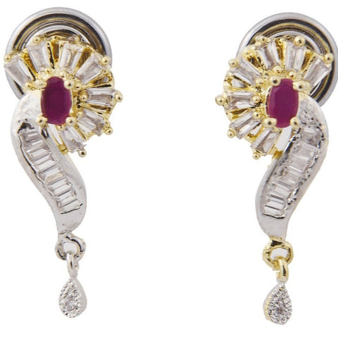 Gold-Tone Ruby Crystal Drop Earrings