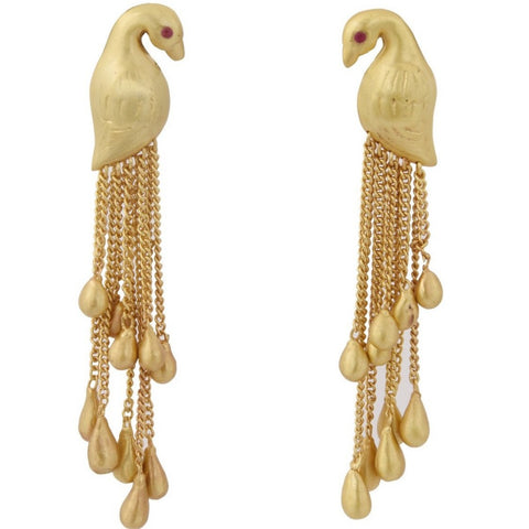 Bird shaped Gold plated Earring with Multiple Drop