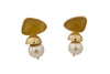 Studs Golden Earrings With Pearl