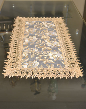 Beige Lace Table Doilies And Placemats Rectangle Set of 6 - My Aashis