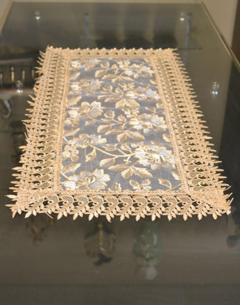 Beige Lace Table Runners (15.5 x 34 inch)