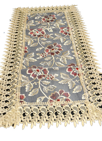 Beige Lace Table Runner And Dresser Scarf Embroidered Burgundy Flower - My Aashis