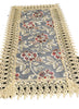 Beige Lace Table Runner And Dresser Scarf Embroidered Burgundy Flower