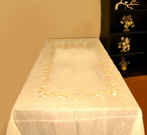 Home Fashions Fancy Flowers Embroidered Cutwork Spring Table Runner, 60* 90cm - My Aashis