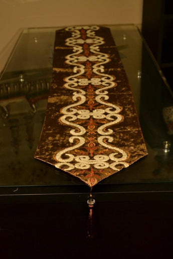 Brown pattern flock velvet embroidered tassel home decorative party gift table runner 70 inch approx
