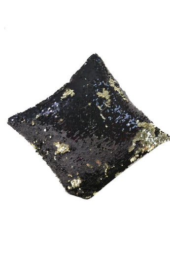 16*16 Golden and Black Decorative Throw Sequin Solid Pillow Cover Square , Hidden Zipper Design