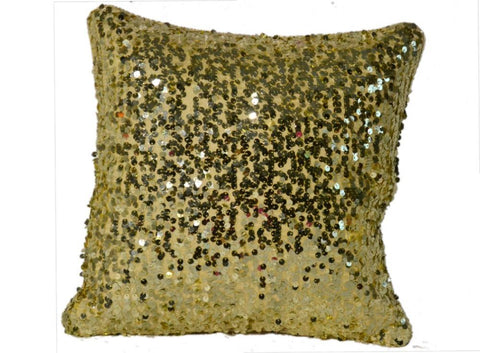 16*16 Golden Decorative Throw Sequin Solid Pillow Cover Square , Hidden Zipper Design
