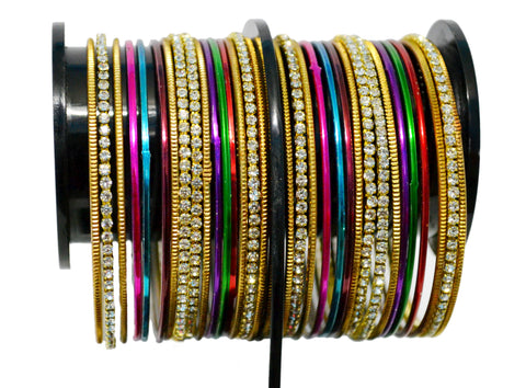 Gold- Tone Stone Bangles with Multi Color Plain Bangles - My Aashis