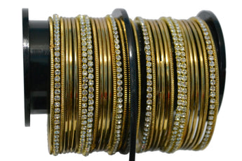 Gold- Tone Stone Bangles with Gold Color Plain Bangles