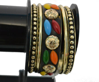 Designers Black Metallic Golden and Multi Color Stone Bracelet - My Aashis
