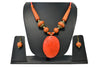 "Beach, Chunky, 15"" Necklace Set with Pink and Orange Wood , Amber Seeded Beads With Hoop Earrings"