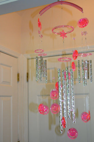 Stylish Pink Color Crystal Wind Chimes for Home Decor - My Aashis