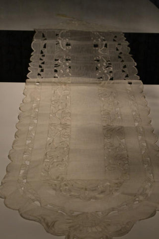 White Tassel Cutwork Table Runner - My Aashis