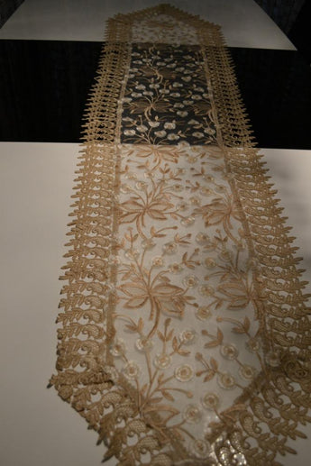 Brown Lace Table Runner And Dresser Scarf Embroidered