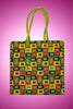 Multicolor Geometric Design Jute Handbag - My Aashis