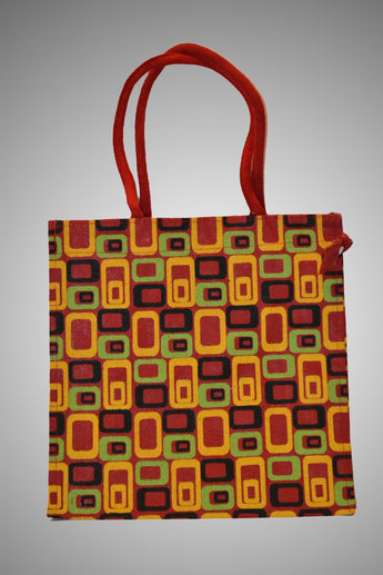 Multicolor Geometric Design Jute Handbag