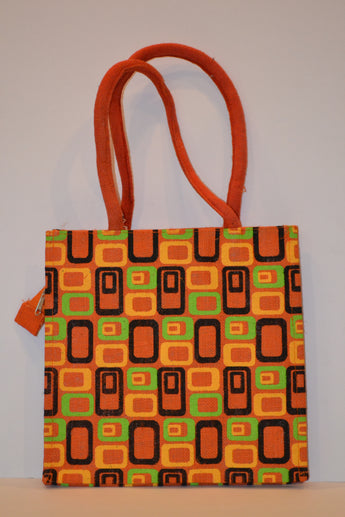 Multicolor Geometric Design Jute Handbag - Orange - Small Size